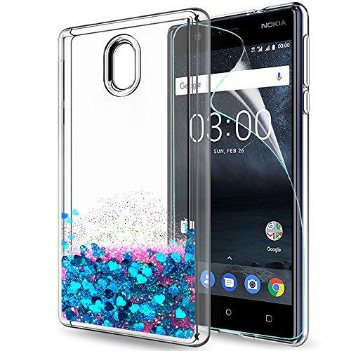 LeYi Hülle Nokia 3 Glitzer Handyhülle mit HD Folie Schutzfolie,Cover TPU Bumper Silikon Flüssigkeit Treibsand Clear Schutzhülle für Case Nokia 3 Handy Hüllen ZX Blau