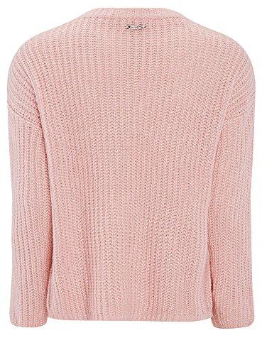 oodji Ultra Damen Lässiger Pullover mit Zopfmuster vorne Rosa (4000N)