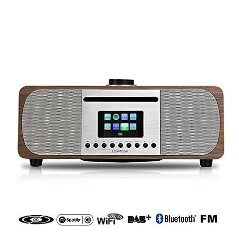 LEMEGA M5+ CD /Wi-Fi /DLNA /Spotify connect /Radio Internet /DAB /DAB+ /Radio FM avec Bluetooth et Horloge /Snooze /Alarme /2.1 Système de haut-parleurs, Système de musique HiFi - Noyer