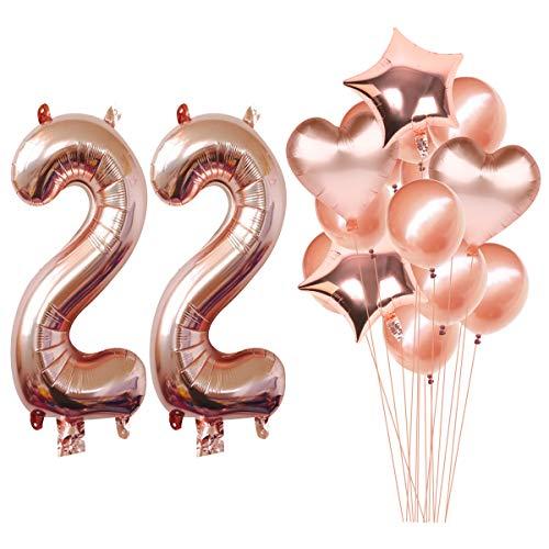 tgold 22nd Geburtstag Helium Jumbo Digital Zahl 22 Luftballons Kit Rotgold Latex Ballons Geburtstag Party Dekoration Zubehör ()