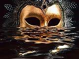 Artland Qualitätsbilder I Wandtattoo Wandsticker Wandaufkleber 80 x 60 cm Feiertage Feste Karneval Foto Gold A7RF Venezianische Maske Blattgold