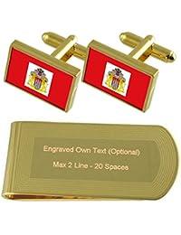 Select Gifts Ciudad Libre y Hanseática de Hamburgo Bandera de Tono Oro Gemelos Money Clip Grabado