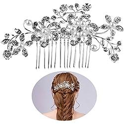 Peineta novia con flores en plata