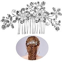 Novia pelo peines cabello diapositivas perlas Decor flor cabello Decoration(Silver)
