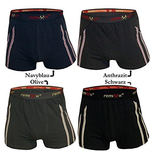 Herren Boxershorts Baumwolle Unterwäsche Streifen Schwarz Anthrazit Dunkelblau Dunkelgrün Retro Männer Shorts Unterhose 5-10er Pack M L XL XXL von SGS Navy - 10 Stk.