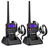 Retevis RT-5R Paire de Talkies Walkies Double Bande UHF VHF 128 Canaux 50 CTCSS/105 DCS VOX Radio FM (Noir, 1 Paire)