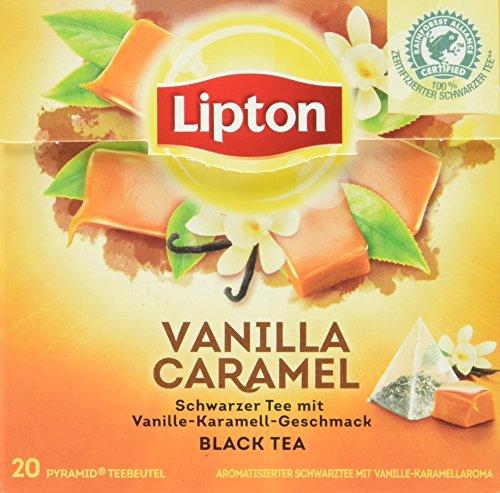 Lipton Schwarzer Tee, Vanille Karamell Pyramidenbeutel, 20 Stück