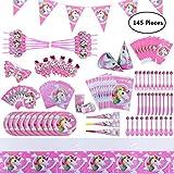 Dailymall 145 Pezzi di Unicorno rifornimenti del Partito Set Ornamenti Ragazze Regali di Compleanno Bambini Compleanno Banner Decorazione (16 Set)