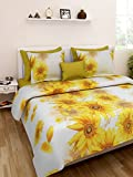 Homefab India Premium 3D 140 TC Polycotton Double Bedsheet with 2 Pillow Covers - Floral, Yellow