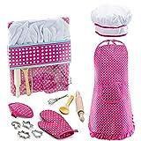 Outtybrave Kinderkoch Spielzeug Set, Kinder-Koch Schürze Set 11-teilig Küche Charakter Vorspiel Set mit Schürze Kinder Kochen Backen Werkzeuge, Siehe Abbildung, Einheitsgröße
