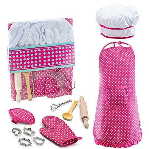 Queta Kids Kitchen Spielset, 11 Stücke Chef Set Kinder Backen Spielzeug mit Kochmütze Schürze Nudelholz Handschuhe Schimmel und Utensilien für Kinder Rollenspiel Kochen Spielen