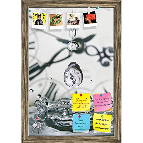 Artzfolio Drop Of Time Play With Water & Clocks Printed Bulletin Board Notice Pin Board | Antique Golden Frame 12 X 17.5Inch (Antique Clock Pin)