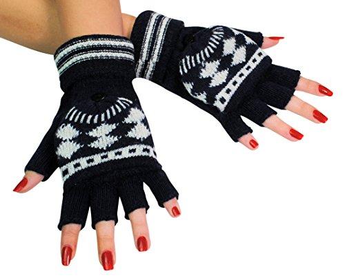 Immerschön Handschuh mit Klappe dunkelblau-weiß - 2 in 1 - fingerlose Handschuhe Fäustlinge klappbar