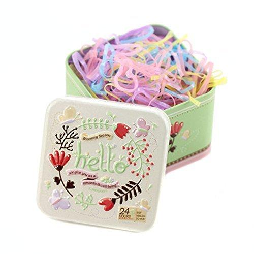 1Box (700pcs) Einweg Haar Pferdeschwanz Halter Elastic Hair Bands Haargummi Gummibänder mit süßen Blechdose für Baby Kinder Mädchen