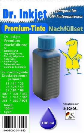 Dr. Inkjet Premium Nachfülltinte Cyan 100ml für HP 901 / 701 / 351 / 344 / 343 / 342 / 300 / 301 / 302 / 88 / 78 / 72 / 57 / 41 / 33 / 49 / 27 / 28 / 25 / 23 / 22 / 20 / 17 / 14 / 11 / 10 - 88 Cyan Inkjet