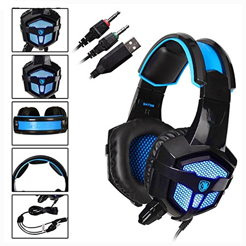 Sades sa738Stereo Over-Ear Wired Gaming Kopfhörer Blau LED Beleuchtung Headsets PU Ear-Pad USB 3,5mm mit Mikrofon für PC Gamer Gaming Tablet Laptops Handy MP3MP4 Headset Ear Pads