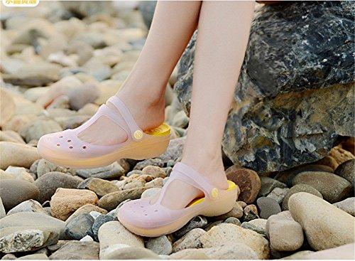 lifewheel femmes filles couleurs changeantes translucide Plage Vacances Sandales Chaussures plates Jaune - jaune