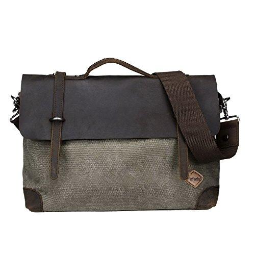 Fafada 14 Zoll Vintage Aktentasche Arbeittasche Messenger Bag Umhängetasche Schultertasche Laptoptasche aus Canvas Leder