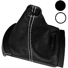 AERZETIX: Funda para palanca de cambios 100 % Piel Genuina negro Costuras de color blanco