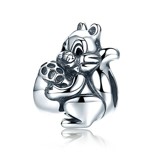 Scoiattolo Genuine 925sterling Silver naughty Squirrel & Pine nut Animal charm Beads Fit donne braccialetto gioielli Gift SCC197