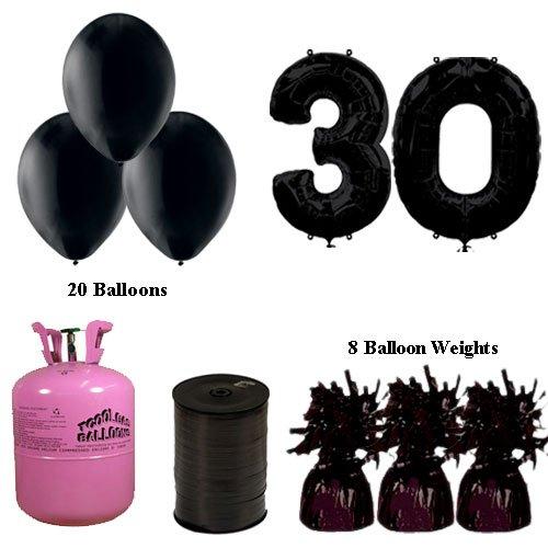 (30. Geburtstag Schwarz Ballons und Helium Gas Paket)