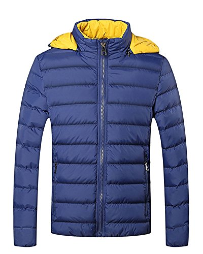 LaoZan Herren Warmer Mantel Mit Kapuze Winterjacke Oberbekleidung Steppjacke Kapuze Blau