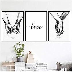 xwwnzdq 3 Unidades Estilo nórdico Negro Blanco Dulce Amor Arte de la Pared Pintura de la Lona Poster impresión Minimalista Amor Cuadro de la Pintura para la Sala de Estar decoración