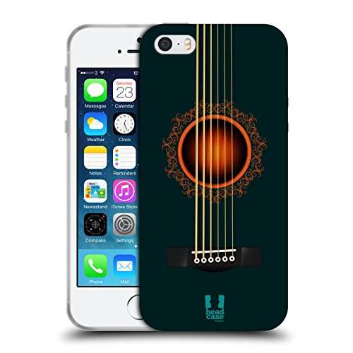 Head Case Designs Turchese Scuro Chitarra Acustica Cover Morbida In Gel Per Apple iPhone 5 / 5s
