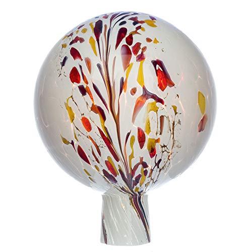 MAROLIN Rosenkugel für den Garten/Gartenkugel (15cm Durchmesser | weiß - meliert)