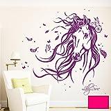 ilka parey wandtattoo-welt® Wandtattoo Pferd Wildpferd mit Blumen Federn Schmetterlingen und Wunschnamen M1874 ausgewählte Farbe: *pink* ausgewählte Größe: *XL - 115cm breit x 100cm hoch*