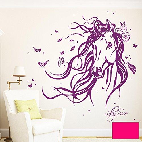 ilka parey wandtattoo-welt Wandtattoo Pferd Wildpferd mit Blumen Federn Schmetterlingen und Wunschnamen M1874 ausgewählte Farbe: *pink*...