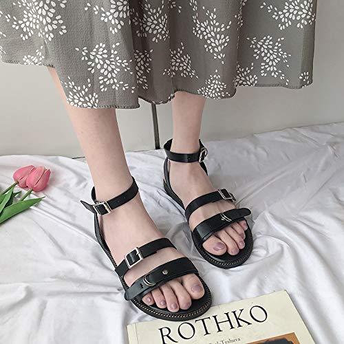 Uhrtimee Sandalen weiblich 2019 Sommer Neue Wilde koreanische Version des Wortes Schnalle Flache einfache Schuhe Studenten nehmen Rock Schuhe, 36, schwarz Court Womens-rock