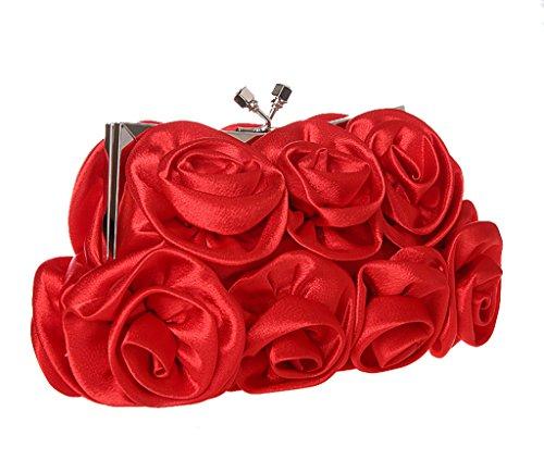 Heyjewels Elegant Rose Blumen Brauttasche Clutch mini Makeup Tasche Verschiedene Farben Rot