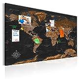 decomonkey   Weltkarte Pinnwand 120x80 cm   Vlies Leinwand   Bilder   Leinwandbilder   Fertig aufgespannt auf Dicker 10mm Holzfasertafel   Aufhängfertig   Auch als Korktafel nutzbar