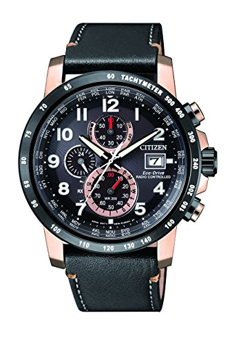 Citizen Herren Chronograph Quarz Uhr mit Leder Armband AT8126-02E