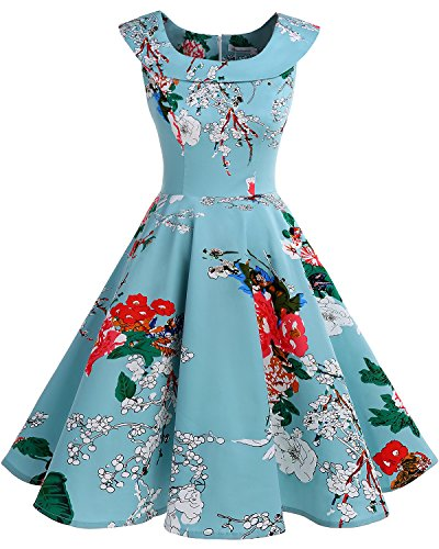 Bbonlinedress 1950er Vintage Retro U-Ausschnitt Rockabilly Cocktail Kleider Green Flower S