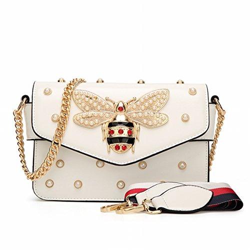 Schulter diagonale Kreuz kleine quadratische tasche biene perle handtaschen Weiß