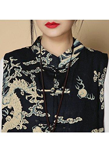 MatchLife Femme Printed Dragon Robe Style3-Navy Blued