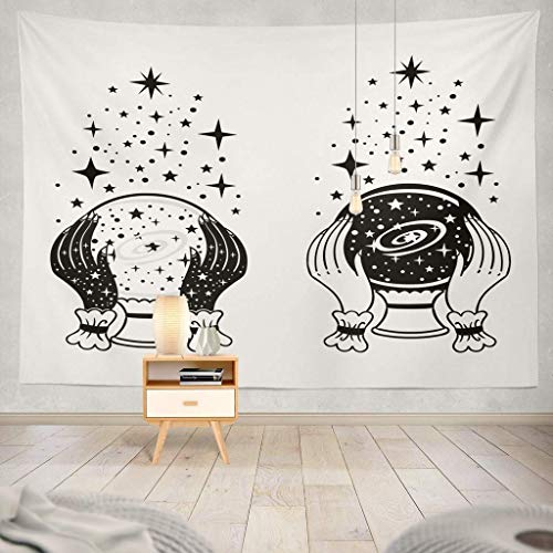 Tapisserie Magic Ball with and Stars Tattoo Symbol Future Halloween Magic Witch Ball Tattoo Art Autumn Black Color Dark Decorative Tapestry,60X60 Inches Wall Hanging Tapestry for Bedroom Living Room