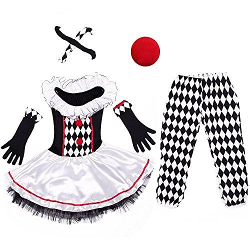 Imagen de disfraz de arlequín lalaareal disfraz payaso adulto con pantalon para halloween y carnaval x large  alternativa
