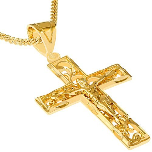 Lifetime Jewelry Crucifix Necklace, Filigree Cross, 24K Gold Over Bronze (with or Without 20″ Chain)