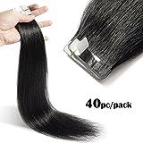 TESS Tape Extensions Echthaar Klebeband Haarverlängerung Remy Human Hair günstig 40 Tressen x 4 cm 100g-40cm(#1 Schwarz)