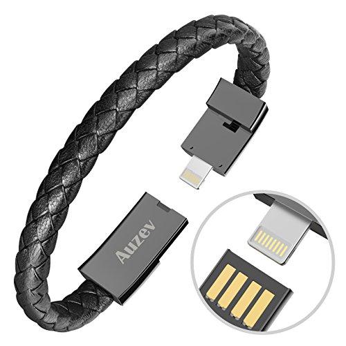 Auzev USB Armband USB Armband Datenleitung Handy Ladekabel Armband Ladeband Kabel Mode doppelt geflochtene Leder Handgelenk Daten Ladekabel für iPhone Plus X iPad usw(L 8.2Zoll Schwarz)
