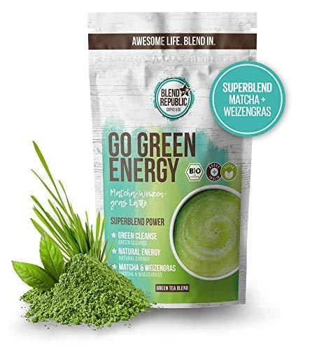 BIO Matcha Latte Mix mit Weizengras & Kokosmilchpulver ⍟ Bio - Vegan - Superfood - Detox - Natural Energy - Matcha Tee - Antioxidant