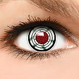 Farbige Kontaktlinsen Terminator in grau rot + Kombilösung + Behälter - Top Linsenfinder Markenqualität, 1Paar (2 Stück)