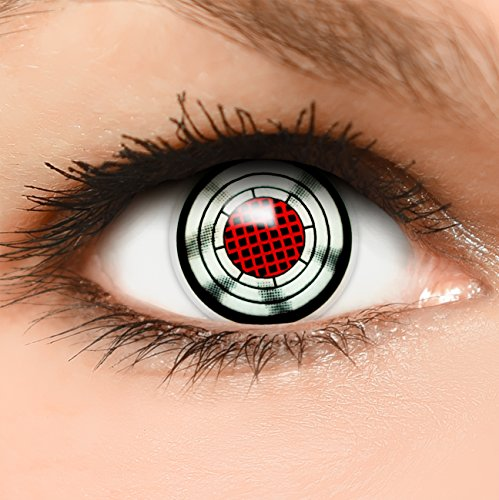 Farbige Kontaktlinsen Terminator in grau rot + Behälter - Top Linsenfinder Markenqualität, 1Paar (2 Stück)