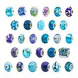 toaob Lot de 10pcs Femme Bleu Thème Murano perles en verre pour bracelets européens pour Charms