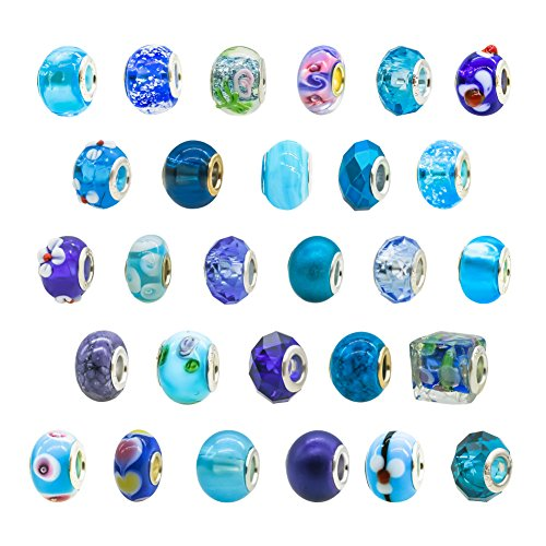 toaob-womens-blue-theme-murano-glass-beads-fits-european-charm-bracelets-pack-of-10pcs