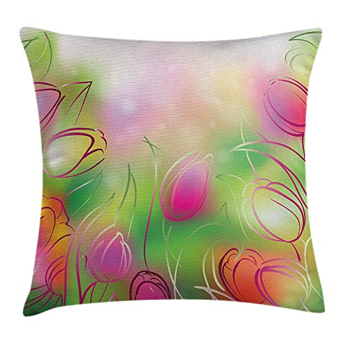 Print Tulip Rock (Flower Throw Pillow Cushion Cover, Silhouettes of Tulips on a Dreamy Background Modern Graphic Print Art Urban Style, Decorative Square Accent Pillow Case, 18 X 18 inches, Pink Green)