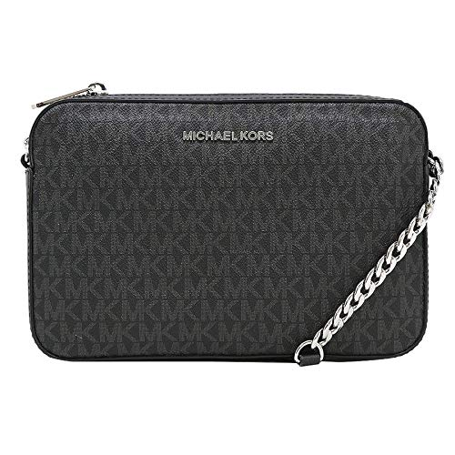 61354eb765 Michael Kors Jet Set - Tracolla grande East West, Nero (Black Pvc 2018)